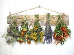 Dried Herb Rack, Dried Floral Arrangement, Kitchen Decor, Herb Decor, Country, Rustic, Primitive Decor