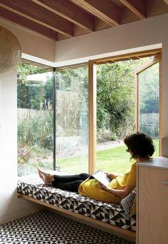 *corner window seat + solid elements Lacy Brick by Pamphilon Architects
