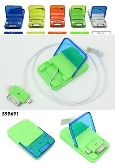 3-in-1 Retractable USB Cable w/Case   Description:  3 in 1 retractable USB flat cable with connectors for Micro USB, iPhone 4, iPhone 5  Stored in plastic case with assorted colors with big logo area Material:  ABS  Size:        7*4.5*1.2CM www.ideagroupigm.com