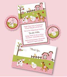 Pink Girl Farm Animal Barnyard Baby Shower by LittlePrintsParties, $20.00