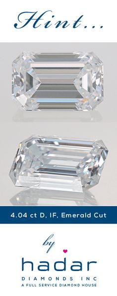 Flawless Diamonds by HadarDiamonds.com . 4.04 carat Emerald Cut Diamond.  GIA Certified Top D color, Internally Flawless, Excellent Polish, Very Good Symmetry.  Fit for a queen.