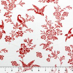 Vintage Bird Floral Red Cotton Jersey Knit Fabric