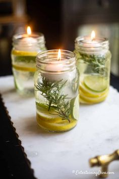 Super Simple DIY Citronella Candles (No wax required!) – Entertaining Diva @ From House To Home I LOVE these DIY Citronella candles! They'll be perfect to get rid of the mosquitoes on my patio this summer. Summer Decoration, Garden Party Decorations, Decoration Table, Patio Party Decor, Party Garden, Mason Jars, Candle Jars, Floating Candles, Diy Candles