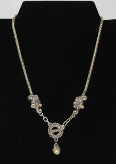 """BRIGHTON Silver Tone Wheat Chain Scroll Leaf Pearl Necklace Front Toggle 17.5"""" #Brighton #Jewelry #Necklace """"Like"""" the Facebook page for more updates! https://www.facebook.com/GottaHaveItCollectibles"""