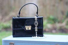 Vintage black purse  patent leather look  by MeghanBlairVintage, $18.00