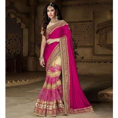 Karisma Kapoor Poly Silk & Net Machine Work Purple & Cream Half & Half Saree - 1548