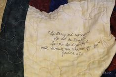 """French Ethereal: Sunday Sentiments ~ Scripture Quilts and a """"How To""""  Make quilt blocks with family member's written scripture"""