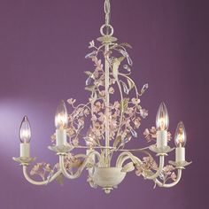 Laura Ashley HBLS0571 5 Light Blossom Mini Chandelier, Antiqued Ivory
