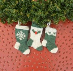 Set of 3 Green & Cream Snowflake, Holly & Scallop Christmas Stocking Ornaments - perfect for a traditional holiday!