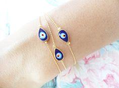 Mother daughter matching evil eye bracelets mom by Handemadeit, $18.90