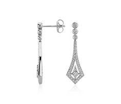 Deco Drop #Diamond Earrings in 14k White Gold | Blue Nile