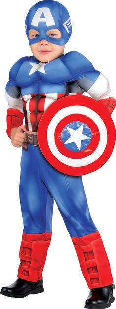 Toddler Boys Captain America Muscle Costume Classic - Party City