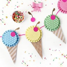 Create the sweetest ice cream banner with this tutorial and free printable pattern!