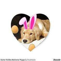 Easter Golden Retriever Puppy Heart Sticker