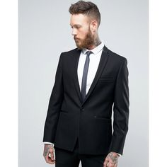 Burton Menswear Slim Blazer With Satin Trim ($113) ❤ liked on Polyvore featuring men's fashion, men's clothing, men's sportcoats, black, slim and tall mens clothing, burton mens clothing, slim fit mens clothing and tall mens clothing