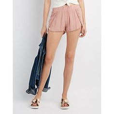 Pink Crochet-Trim Tulip Shorts - Size M