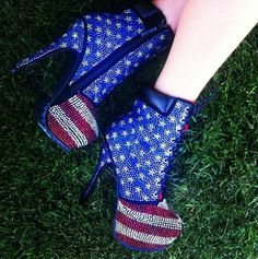 Bling out booties  USA flag on them