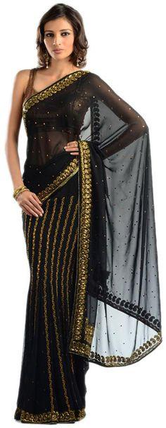 Black embroidery saree