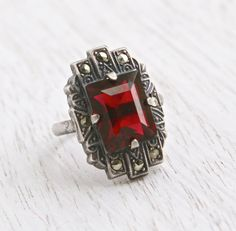 Vintage Marcasite & Garnet Red Stone Ring - Antique Size 3 1/2 Art Deco Sterling Silver Shield Ring Jewelry / Crimson Red
