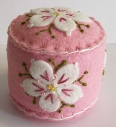 Dogwood Blossoms on Pink mini pincushion by TheDailyPincushion, $15.00