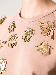 lanvin beige beetle embellished sweater