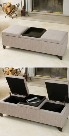 Storage bench ottoman // with two lift-up seats and reversible table top #furniture_design #organization