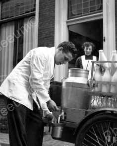 Milk Man Delivering Milk Vintage 8x10 Reprint Of Old Photo