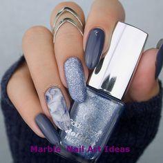 32 Creative Ways Nail Designs Winter Holiday Glitter 2 Nail Art Designs, Marble Nail Designs, Acrylic Nail Designs, Nails Design, Winter Nails 2019, Nagellack Design, Rose Nails, Gray Nails, Super Nails