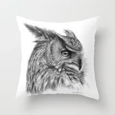 Eagle Owl G085 Throw Pillow by S-Schukina - $20.00