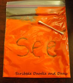Scribble Doodle and Draw: use paint baggies to practice printing letters, sight words, spelling words, etc. this would be good for livi's sight words. Spelling Activities, Sight Word Activities, Educational Activities, Preschool Activities, Spelling Practice, Spelling Power, Spelling Word Games, Name Writing Practice, Sight Word Centers
