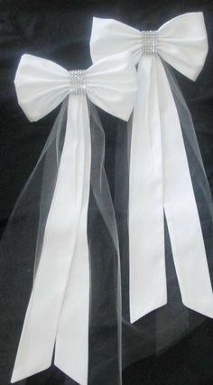 Elegant Pew Bows with Rhinestones and Tulle