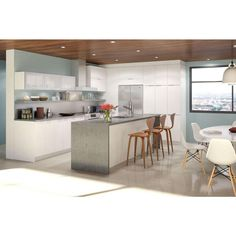 Eurostyle 30x30x12.5 in. Alexandria Wall Cabinet in White Melamine and Door in White-W3030.W.ALEXA at The Home Depot