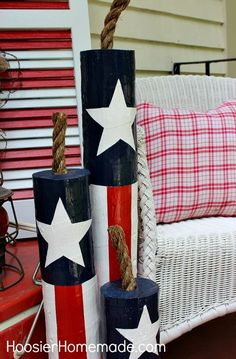 diy wooden firecrackers and our summer front porch, crafts, outdoor living, patriotic decor ideas, seasonal holiday decor 4. Juli Party, 4th Of July Party, Fourth Of July, Patriotic Crafts, July Crafts, Patriotic Party, Summer Crafts, Americana Crafts, Western Crafts