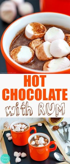 Hot Chocolate Spiked with Rum - Homemade lovely hot brew recipe with little alcohol and topped with marshmallows. Chocolate Rum Recipe, Alcohol Chocolate, Spiked Hot Chocolate, Chocolate Garnishes, Homemade Hot Chocolate, Hot Chocolate Bars, Chocolate Food, Rum Recipes, Alcohol Recipes