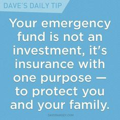 Your emergency fund is not an investment, it's insurance with one purpose - to protect you and your family.