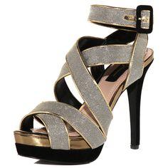 Dorothy Perkins nude, black, and gold platforms!