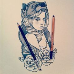 #girl #illustration #art #bear #pencil #rose