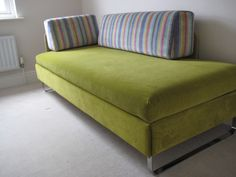 Looking for a contemporary, stylish double sofa bed? The Doppio Bed4Living from Swissplus is a day bed cum every night use single or double bed. Our latest commission is in Linwood Omega velvet and Harlequin's ezra stripe.