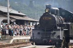 家族連れや鉄道ファンが見守る中、試験走行する明知鉄道の蒸気機関車=9日午後、岐阜県恵那市