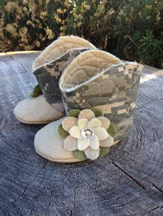 Baby Boots in Army Camo Print, Baby Booties, Infant Boots. $25.00, via Etsy.