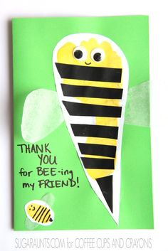 Bee Footprint Kindness Card - Coffee Cups and Crayons Preschool Arts And Crafts, Preschool Activities, Crafts To Do, Crafts For Kids, Paper Crafts, I Love Bees, Footprint Crafts, Finger Plays, Bee Cards