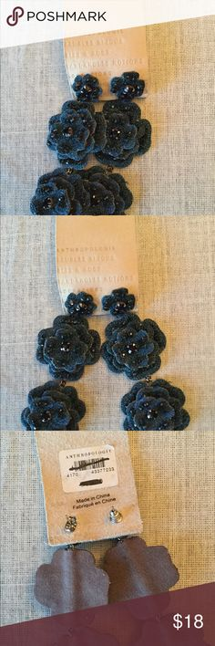 NWT Anthropologie pierced earrings dangling flower NEW  Anthropologie  Pierced earrings Hanging flowers with rhinestone accent Anthropologie Jewelry Earrings