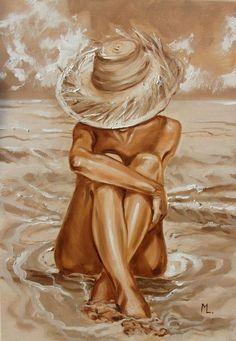 """ LAZY DAY ... ""- SKY SEA SAND liGHt ORIGINAL OIL PAINTING, GIFT, PALETTE KNIFE - Full-frontal image, unframed"