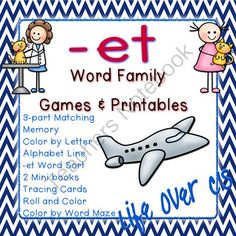 -et Word Family CVC Games/Centers and Worksheets US/UK Versions from Life Over C's on TeachersNotebook.com -  (36 pages)  - 10 fun activities and printables for the the -et CVC word family. Great for word work & literacy centers.