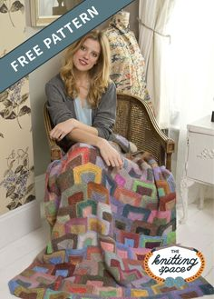 Give your home a wonderful pop of color and shape, and craft this Modern Miters Knit Afghan. It features row of mitered rectangles and layers of multiple colors. The pattern is ideal for intermediate knitters to work on. | Discover over 5,500 free knitting patterns at theknittingspace.com Free Baby Patterns, Knitting Patterns Free, Free Knitting, Free Pattern, Crochet Afghans, Crochet Yarn, Manta Crochet, Knitting Supplies, Plaid