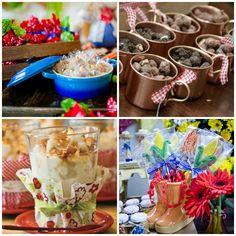 Louças de porcelana para festa junina estilo caipira