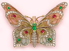 Art Nouveau Plique-a-Jour Enamel, Diamond, Emerald, Ruby And Gold Butterfly Brooch - French