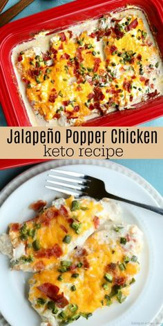Keto Jalapeño Popper Chicken Recipe is packed with so much amazing flavor. Lots of cheese, bacon and more make this Keto Jalapeño Popper Chicken oh so good! #eatingonadime #keto #chicken #ketogenic #ketodiet #ketorecipes #chickenrecipes #recipes #dinnerideas #dinner #dinnerrecipes