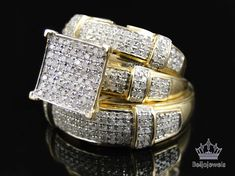 10K Yellow Gold White Diamond Wedding Bridal Engagement Trio Ring Set 1.50 Carat #beijojewels