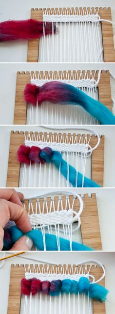 Weaving Techniques How to Weave Wool Roving Weaving Textiles, Weaving Art, Weaving Patterns, Tapestry Weaving, Loom Weaving, Hand Weaving, Fabric Weaving, Textiles Techniques, Weaving Techniques